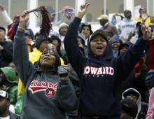 sp-bison22 10-22-2005 Mark Gail_TWP #173762 left to right- Members of the Howard University class of 2002 Shaneen Tatum and Corletha Bosby enjoy the Howard vs North Carolina A&T homecoming game Saturday.  (Photo by Mark Gail/The Washington Post/Getty Images)